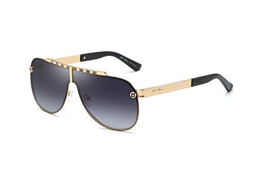UV-BANS Men Women Large Wide Oversized Shied Aviator Sunglasses For Driving, Retro 80's Vintage Designer Frame,Cool Gift - Frame Designer Sunglasses Gold
