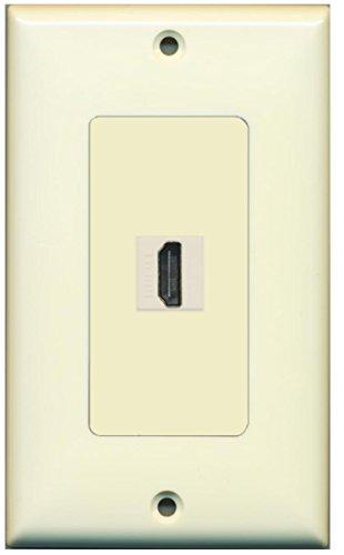 RiteAV HDMI 2.0 Wall Plate 1 Gang Decorative - 1 Port - Light Almond