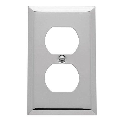 Baldwin Duplex Switchplate - Baldwin 4752.CD Beveled Edge Solid Brass Single Duplex Switchplate, Polished Chrome