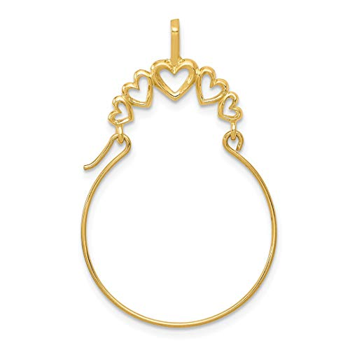 14k Yellow Gold 5 Heart Pendant Charm Necklace Holder Fine Jewelry For Women Gift Set