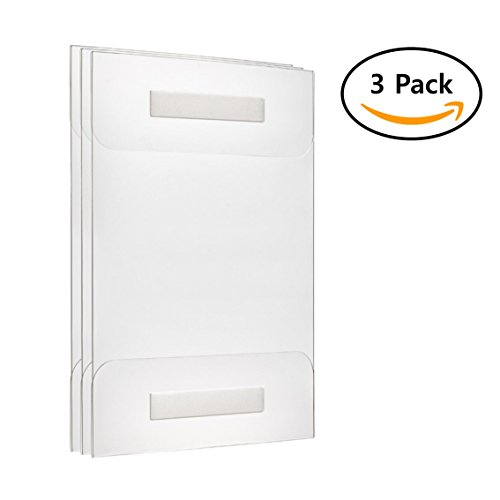 (Fortunovo Acrylic sign holder 8.5 x 11 | Wall mount | 3pcs Pack | Clear, putty, adhesive, easy hang frame | For file, engraver, document, brosure, sheet, folder, clipboard, whiteboard, folder |)