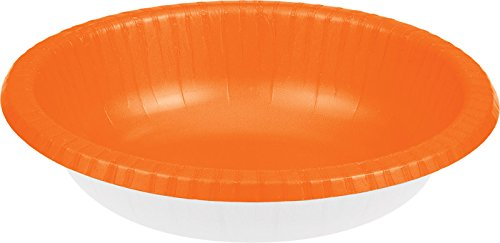 Creative Converting 173282 PAPER BOWLS 20 OZ, Sunkissed Orange - Orange Small Bowl
