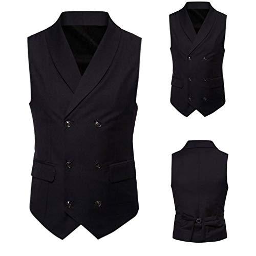 Casual Britannique Taille Costume Double Gentilhomme Adeshop 4 Manteau Vest Manches Outwear Noir Veste Grande Mode Chic Boutonnage Imprimer Top Gilet Sans Vêtements Blouse Hommes UxxSPI
