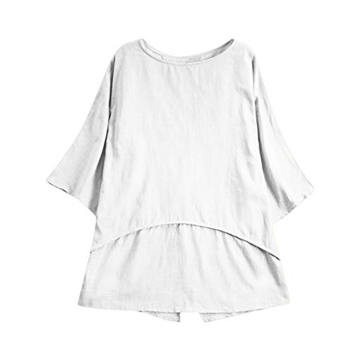 GHrcvdhw Womens Plus Sized Short Sleeves Solid Color T-Shirt Casual Loose Linen Sleeve Button Tunic Top Blouse White