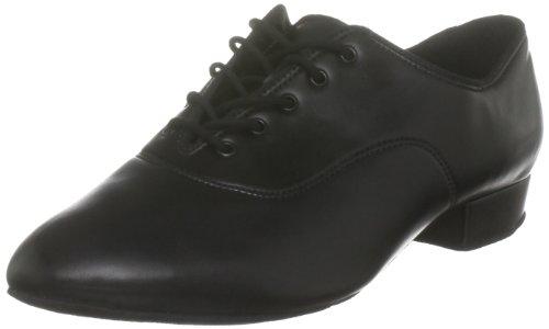 International Dance Shoes - Zapatillas de danza de cuero para hombre Negro