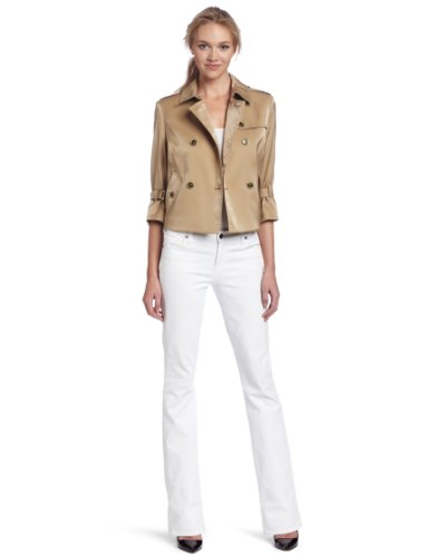 AK Anne Klein Women's Luster Cloth Cropped Trench Coat