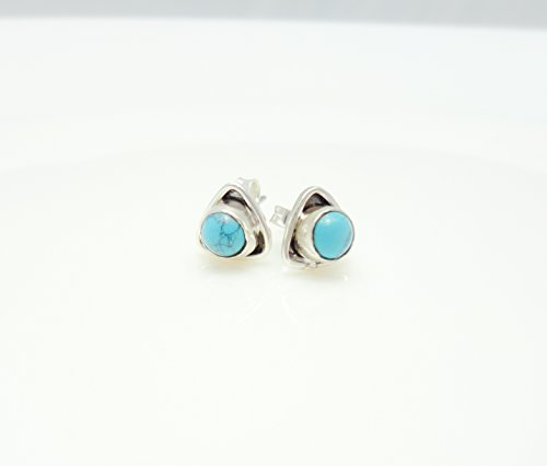 Triangle Turquoise Micro Mosaic Sterling Silver Stud Earrings, Semi Precious Gemstone by Handmade - Turquoise Coral Stud