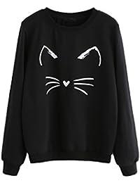 59cbd52edb1c Women s Cat Print Sweatshirt Long Sleeve Loose Pullover Shirt