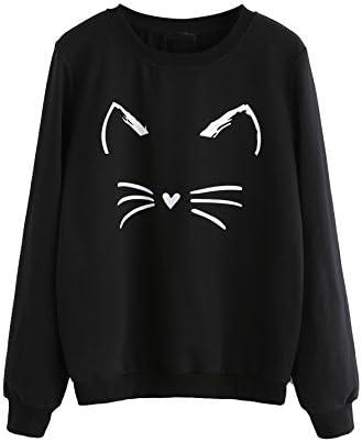 Romwe de la mujer gato Imprimir sudadera manga larga Loose Pullover Camisa