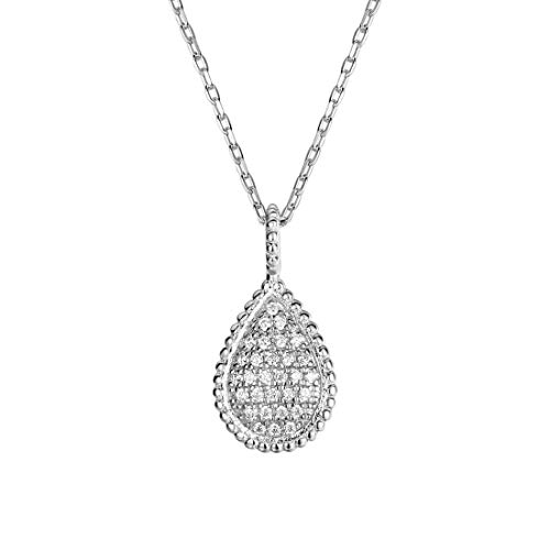 Carleen 925 Sterling Silver CZ Cubic Zirconia Pave Pear Shaped Drop Necklace Pendant for Women Girls,16+2 inches Extender