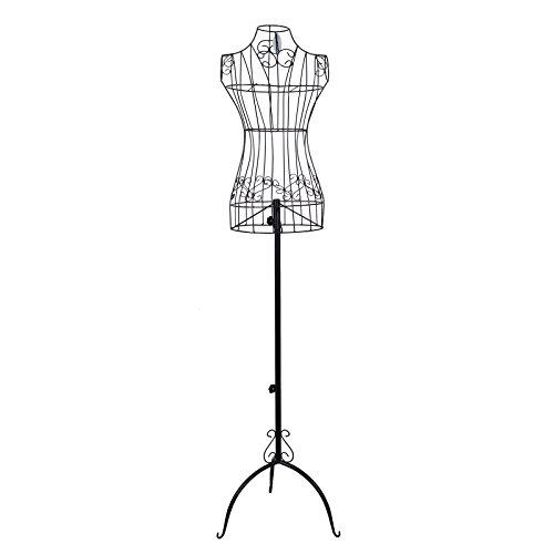 Songmics dünn Weiblich Schneiderpuppe Höhe Einstellbar ca. 112 cm - 170 cm Schaufensterpuppe aus Metall schwarz HRA10B