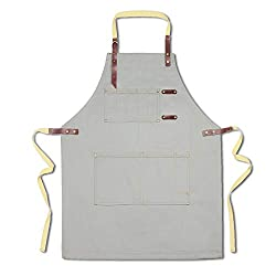 Canvas Work Apron With Tool Pockets For Men Women Cotton Chef Apron With Adjustable Waistband Kitchen Aprons For Cooking Baking Crafting Gardening Bbq Diy Art Gray