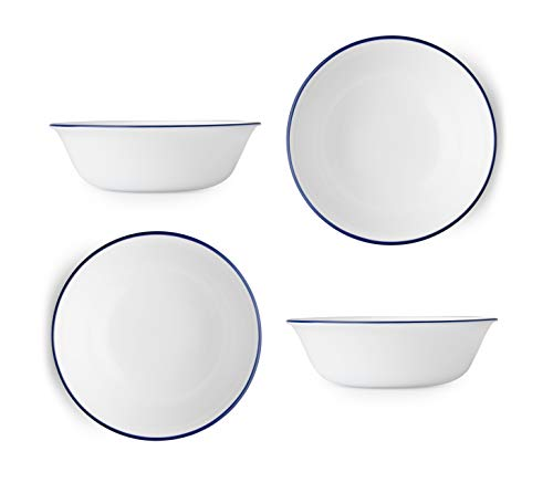 - Corelle Livingware Lia 18 Ounce Soup/Cereal Bowl - White with Cobalt Blue Lip (Set of 4)