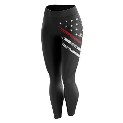 Tactical Pro Supply American Flag Leggings for Women, Workout High Waist Yoga Pants for Ladies - Small ()