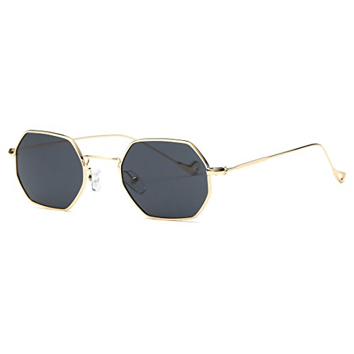 AEVOGUE Unisex Sunglasses Small Metal Frame Asymmetry Temple AE0520 (Gold&Black, 56) (Sunglasses Rectangle)