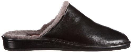 Fortuna Füssen Flex 438002-02 - Zapatillas de casa de cuero para hombre Negro
