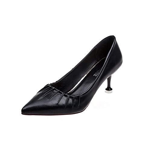 Tacones Trabajo Otoño Aguja Señora Yukun Salvaje Black De zapatos De tacón Solos Zapatos Acentuados de Zapatos alto del De con Gato xqIqvZ