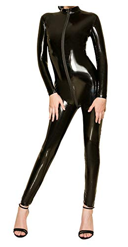 L04BABY Women's Patent Leather Long Sleeve Zipper Lingerie Black Full Bodysuit M -