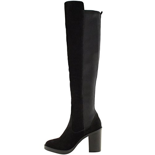 WOMENS LEG KNEE HIGH STRETCH THE OVER Suede Black CHUNKY WIDE BOOTS HEEL Faux THIGH LADIES WINTER qwp71rxq