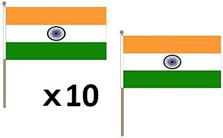 AZ FLAG Bandera de India 45x30cm con Palo de Madera - Lote de 10 Bandera Indiana 30 x 45 cm: Amazon.es: Jardín
