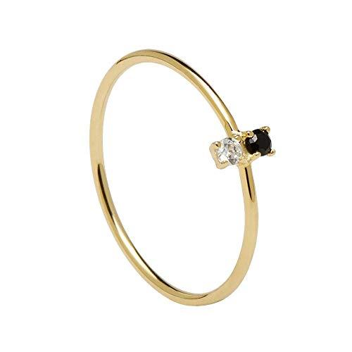 P D PAOLA – Anillo Carbon Gold – Plata de Ley 925 ba–ada en Oro de 18k – Joyas para Mujer