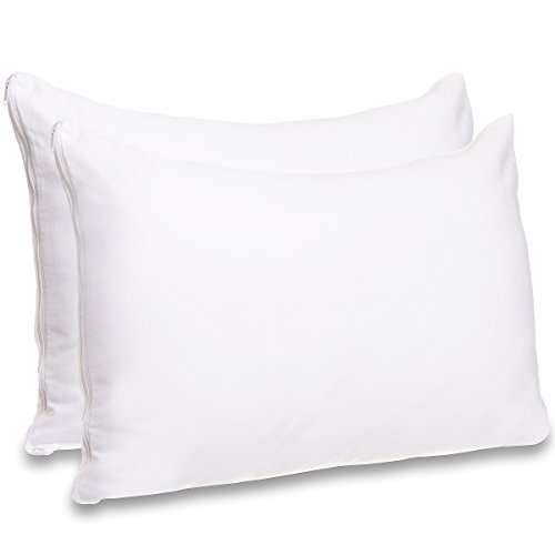 Mellanni Cotton Pillow Cases w/Zipper - Set of 2 Standard Pi