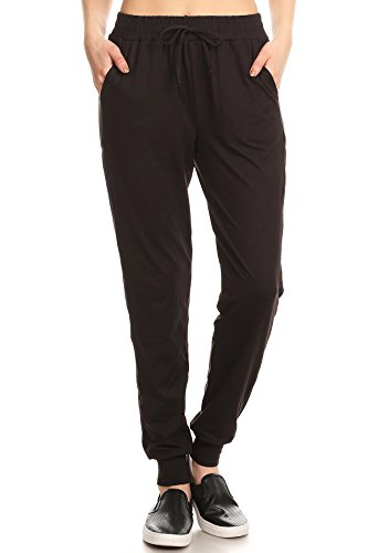 ShoSho Womens Solid Color Loose Fit Jogger Track Pants Casual Bottoms Mesh Panel Joggers Light Black Large by ShoSho