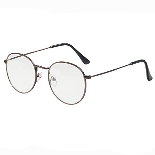 6a2bf82642 Simvey Classic Vintage Round Circle Metal Glasses Frame Clear Lens
