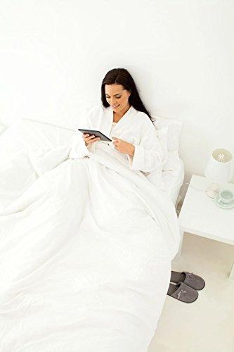 Albornoz unisex de rizo en algodón egipcio de ExceptionalSheets, XL, blanco Burgundy