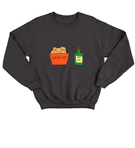 Drink Me Eat Me Fake Labels_004623 Sweater Crewneck Sweatshirt Pullover Unisex SM Black]()