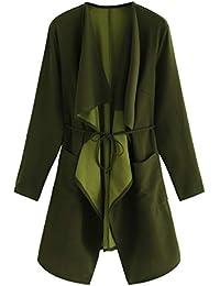 211ec032ff2 Women s Raw Cut Hem Waterfall Collar Long Sleeve Wrap Trench Pea Coat  Cardigan