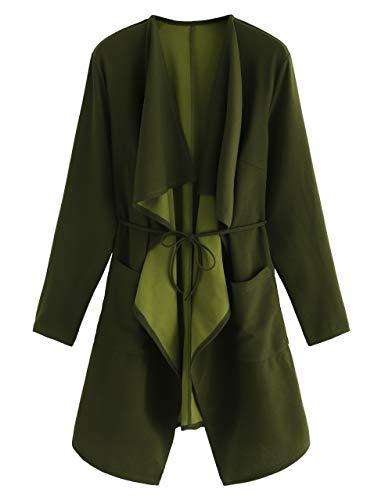 Romwe Women's Raw Cut Hem Waterfall Collar Long Sleeve Wrap Trench Coat Cardigan Green M