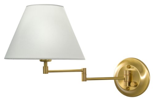Holtkotter White Sconce - Holtkoetter 8164 AB SWRG Incandescent Shaded Swing-Arm Wall Sconce, Antique Brass with Satin White Regular Shade