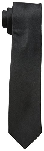 Original Penguin Men's Solid Satin Super Slim Tie, Black, One ()