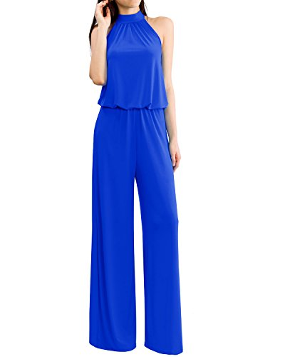 Women's Sleeveless Mock Neck Tie Back Solid Jumpsuits and Rompers Ubk600_royal Large -
