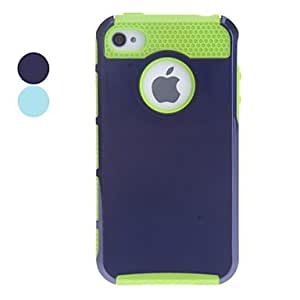 WEV Double Shells Design Green TPU Inner Shell Hard Case for iPhone 4/4S (Assorted Colors) , Blue