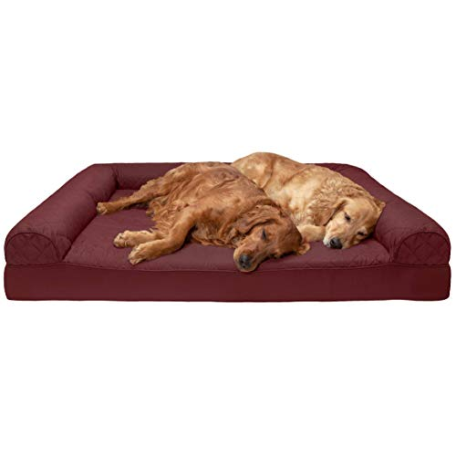 Dog Bed Wine - FurHaven Pet Dog Bed | Memory Foam Quilted Sofa-Style Couch Pet Bed for Dogs & Cats, Wine Red, Jumbo Plus (Renewed)