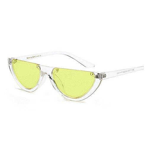 Mujer Color UV Montura Blanco de Sunglasses sin plástico de Sol PC Protección Montura de Punk para Gafas Classic Retro Pequeña Semi Gafas Lady'S Amarillo Sol Lente Estilo Unisex Hombre p0q14Fxzw4