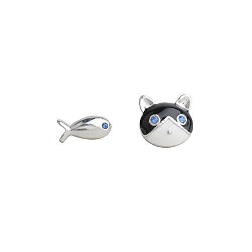 LUCINE Cute Cat And Fish Mismatched Personalized Stud Earrings for Women Teen Girls Birthday - Cute Cat Earrings