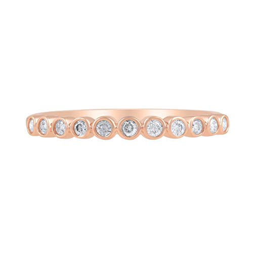 1/5 Carat Natural Diamond Band 14K Rose Gold (H-I Color, I3 Clarity) Diamond Band for Women Diamond Jewelry Gifts for Women, US Size 7