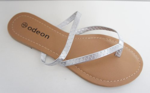 ODEON Silver Strappy Flip Flop Sandal - Size 4 to 8