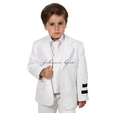 7b333af0f Amazon.com: Johnnie Lene JL5026 WHITE Cotton/Linen Boys Summer Suit ...