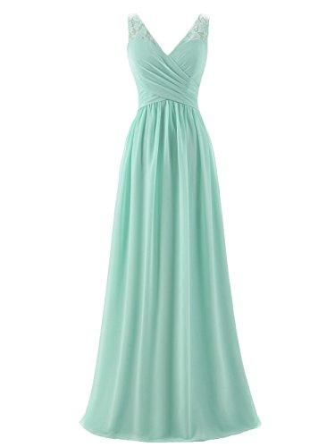 A-line V-Neck Chiffon Long Empire Bridesmaid Dresses Simple Prom Dresses (US8, Mint)