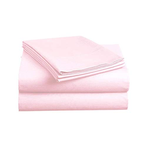RELIABLE BEDDING Egyptian Cotton Sheets Set (4 Piece) 600 Thread Count - Bedspread Deep Pocket Premium Bedding Set, Luxury Bed Sheets for Hotel and Home Collection Soft Sateen Weave King - Pink