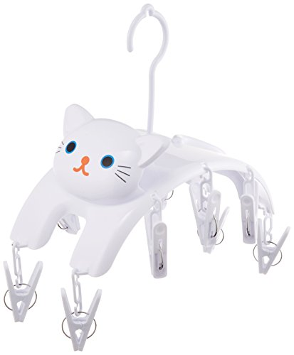 "Meiho Cat ""Clothespins Hanger"" White Me08 (japan import)"