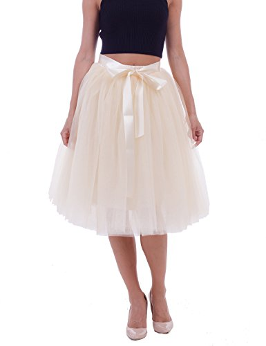 Women's High Waist Princess A Line Midi/ Knee Length Tutu Tulle Skirt for Prom Party, Beige, Free Size