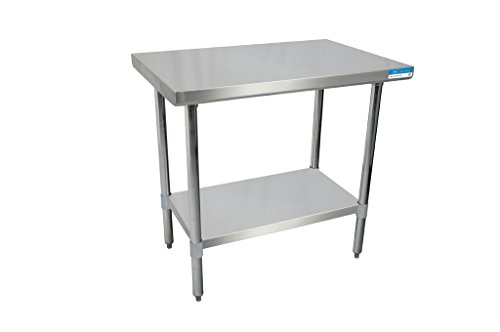 BK Resources 18 Gauge Stainless Steel Flat Top Table with Stainless Steel Undershelf and Legs, 30 x 24 Inches by BK Resources