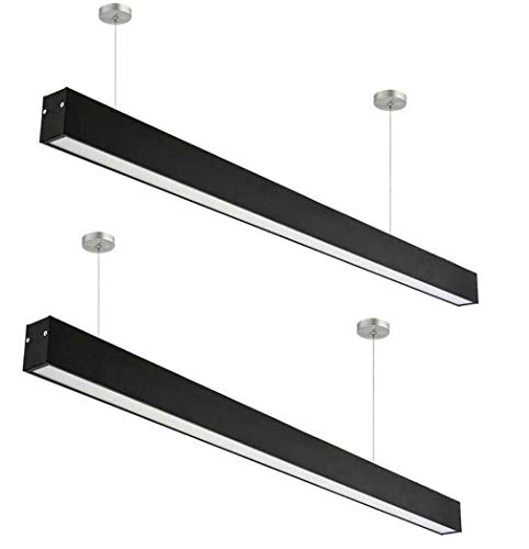 4ft Dimmable LED Linear Light, Linkable Suspension Lighting Fixture, UL & DLC, 4000K Cool White SMD Light Source Pendant Lamp, For Office, Market, Garage, Pack Of 2 - Black (Wattage : 18W)