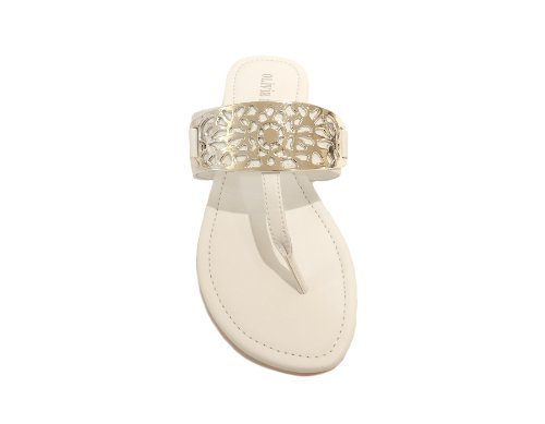 Olivia Miller Women's Polyurethane Sandal Shoes (White, Size 8)