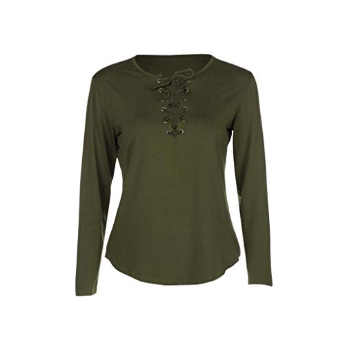 Vert Mode Blouse Tops LULIKA Chemise T Femmes LaChe Longues Shirt Manches Casual Bandage 7OOwZxdqY